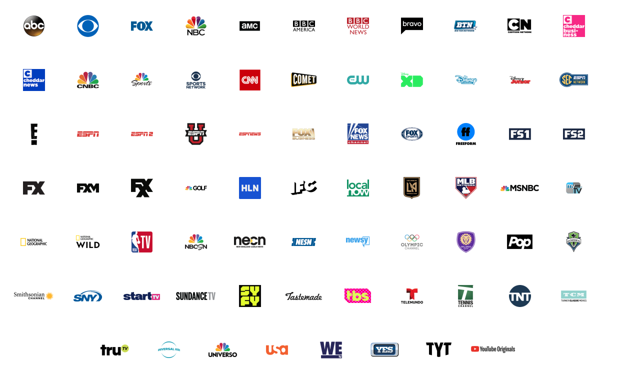 YouTube TV available channels